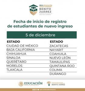 Registro beca benito juarez diciembre 2020 bis