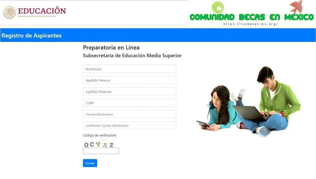 Formulario de registro prepa en linea sep 1ª convocatoria 2021