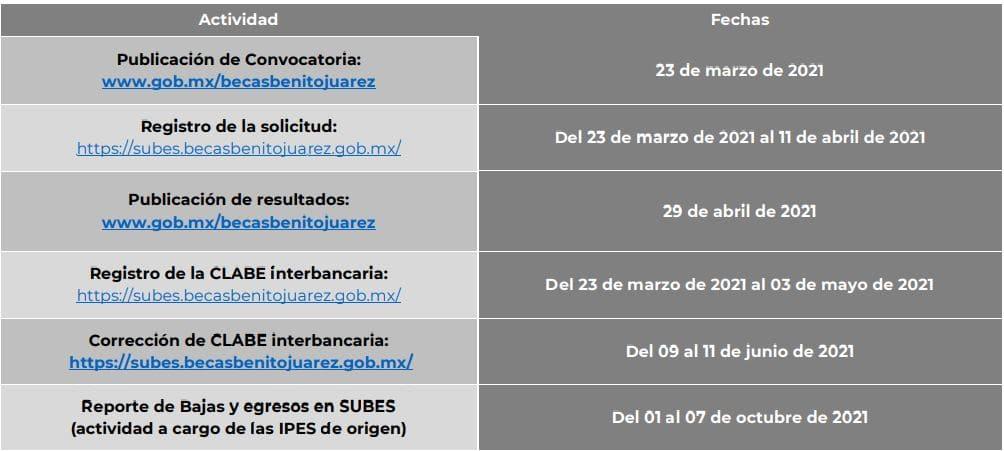 Calendario becas IPES 2021